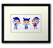 Collection of cute winter children Framed Print