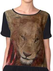 Wild Lion Eating Chiffon Top