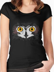 Owl Eyes Black Women's Fitted Scoop T-Shirt