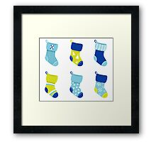 Cute Christmas Socks set - vector cartoon Illustration Framed Print