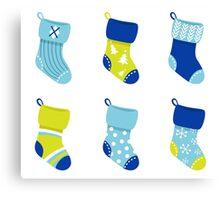 Cute Christmas Socks set - vector cartoon Illustration Canvas Print