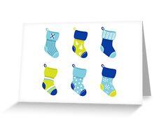 Cute Christmas Socks set - vector cartoon Illustration Greeting Card