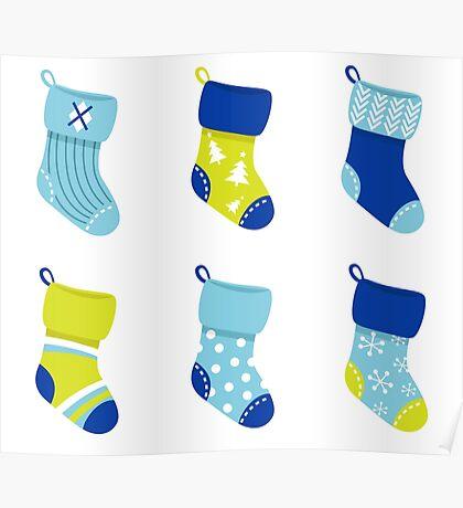 Cute Christmas Socks set - vector cartoon Illustration Poster