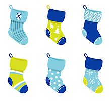 Cute Christmas Socks set - vector cartoon Illustration Photographic Print
