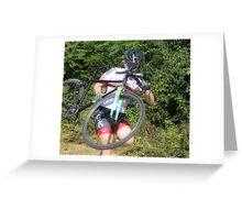 Running Bike by Woman  Greeting Card