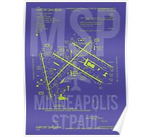 MSP Minneapolis-Saint Paul Airport Diagram Poster