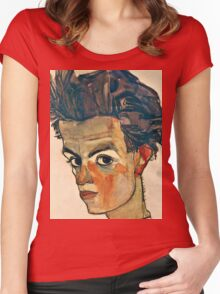 Egon Schiele - Self Portrait with Striped Shirt (1910)  Women's Fitted Scoop T-Shirt
