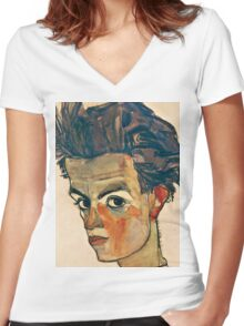 Egon Schiele - Self Portrait with Striped Shirt (1910)  Women's Fitted V-Neck T-Shirt