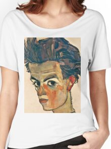 Egon Schiele - Self Portrait with Striped Shirt (1910)  Women's Relaxed Fit T-Shirt