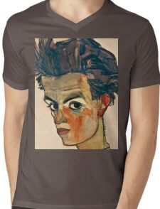 Egon Schiele - Self Portrait with Striped Shirt (1910)  Mens V-Neck T-Shirt