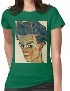 Egon Schiele - Self Portrait with Striped Shirt (1910)  Womens Fitted T-Shirt