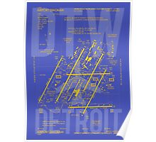DTW Detroit Airport Diagram Poster