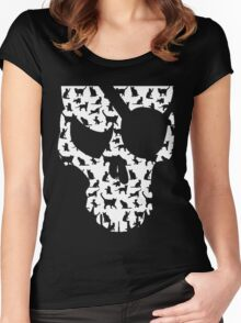 skull and cats  Women's Fitted Scoop T-Shirt