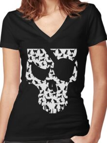 skull and cats  Women's Fitted V-Neck T-Shirt