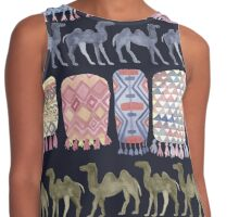 Camels and Moroccan Blankets on Navy Contrast Tank