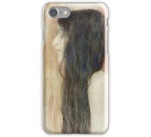 Gustav Klimt - Girl With Long Hair With A Sketch For Nude Veritas 1899 iPhone Case/Skin