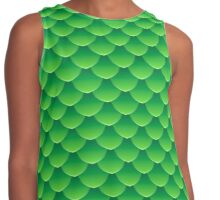 Green dragon scales 3d effect fun bold animal print design in green and emerald, classic statement fashion clothing, soft furnishings and home decor  Contrast Tank