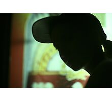 Rap hip hop singer  in bar nightclub in silhouette photograph Photographic Print