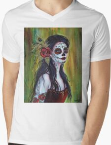 Lila day of the dead art by Renee L Lavoie Mens V-Neck T-Shirt