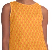 Mermaid goldfish scales, 3d effect fun bold animal print design in gold and orange, classic statement fashion clothing, soft furnishings and home decor  Contrast Tank