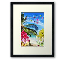Tropical Beach and Exotic Plumeria Flowers Framed Print