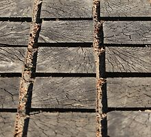 cracked paving wooden walkway by mrivserg