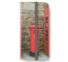 Iconic red telephone boxes with an iconic red post iPhone Wallet/Case/Skin