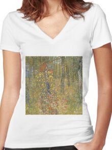 Gustav Klimt - Farm Garden With Crucifix 1912 Women's Fitted V-Neck T-Shirt