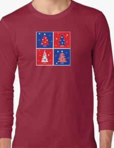 Christmas Trees design blocks icons Long Sleeve T-Shirt