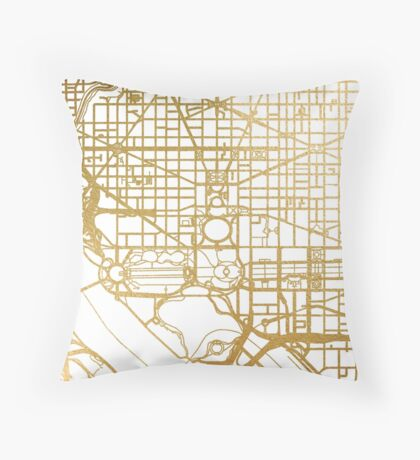 Gold Washington DC map Throw Pillow