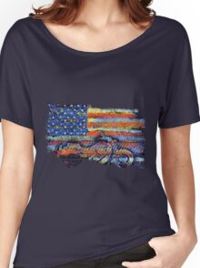 United States Flag with Motorcycle Women's Relaxed Fit T-Shirt