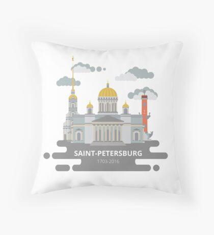 Saint-Petersburg flat cityscape. Throw Pillow