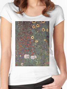 Gustav Klimt - Country Garden With Sunflowers 1906 Women's Fitted Scoop T-Shirt
