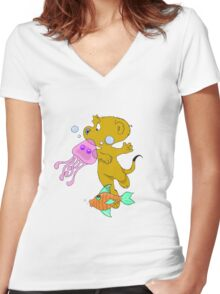Ferald In The Abyss Women's Fitted V-Neck T-Shirt