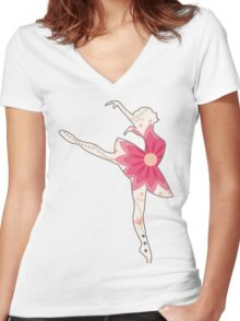 Vintage ballet dancer Women's Fitted V-Neck T-Shirt