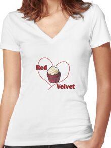 Red Velvet Cupcake Women's Fitted V-Neck T-Shirt