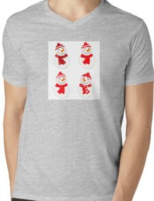 Vector cute snowman red collection Mens V-Neck T-Shirt