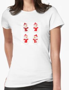 Vector cute snowman red collection Womens Fitted T-Shirt