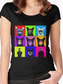 GALANTIS SEAFOX FAMILY POP ART Women's Fitted Scoop T-Shirt