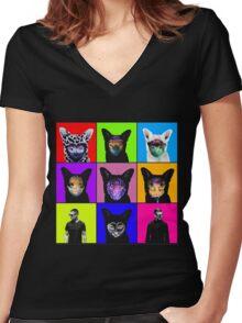 GALANTIS SEAFOX FAMILY POP ART Women's Fitted V-Neck T-Shirt