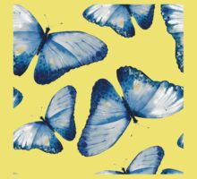 Beautiful big butterflies in blue tones, fun bold animal print design in blue, classic statement fashion clothing, soft furnishings and home decor  Kids Tee