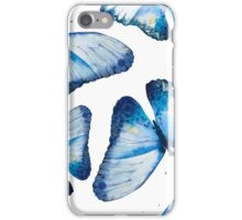 Beautiful big butterflies in blue tones, fun bold animal print design in blue, classic statement fashion clothing, soft furnishings and home decor  iPhone Case/Skin