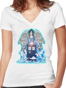 The angel has a phone box Women's Fitted V-Neck T-Shirt