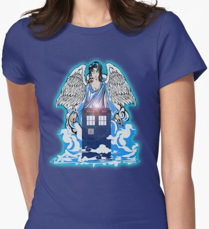 The angel has a phone box Womens Fitted T-Shirt