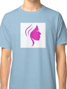 Beautiful pink simple woman face Classic T-Shirt