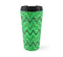 Green Black Squiggle Pattern Travel Mug