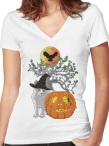 Cat Halloween Women's Fitted V-Neck T-Shirt