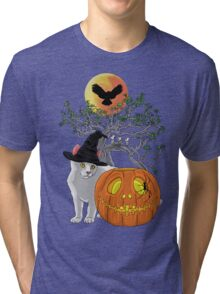 Cat Halloween Tri-blend T-Shirt