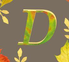 Autumn Leaf Grey Initial Monogram D Sticker