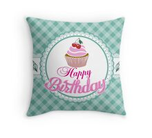 Happy Birthday Cupcake Throw Pillow